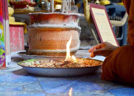 matches: The matches for religious ceremony of fire in cave of temple at Lopburi, Thailand Stock Photo