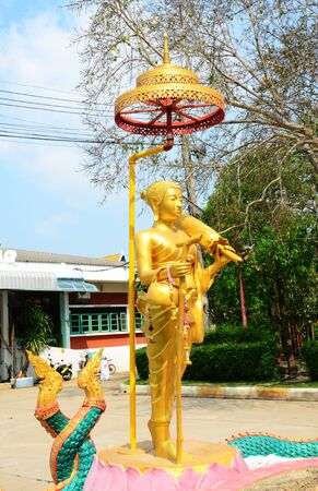arhat: Sivali or Sivalee buddha statue is an arhat widely venerated among Theravada Buddhists. He is the guardian saint of travel and is believed to ward off misfortunes at home such as fire or theft. Stock Photo