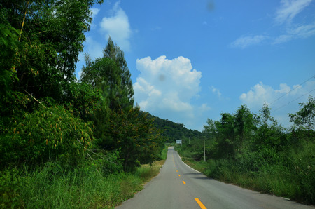 kaeng: Road at countryside near kaeng krachan dam in Kaeng Krachan largest national park in Phetchaburi, Thailand.