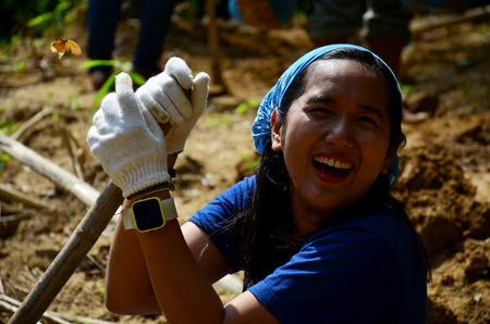 Thai people volunteer make salt licks for animals eat at PanoenThung forest in Kaeng Krachan largest national park in Phetchaburi, Thailand. 版權商用圖片