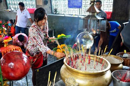 praying angel: Thai woman praying angel statue at Phra Kal Shrine near Phra Prang Samyod on February 23, 2016 in Lopburi, Thailand