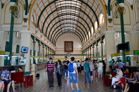 People travel and shopping at Ho Chi Minh Central Post office on January 22, 2016 in Ho Chi Minh, Vietnam