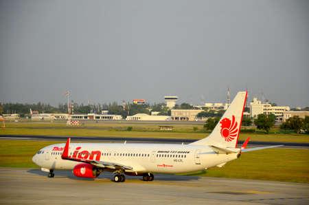 aircraft landing: Aircraft landing at Don Mueang international airport on January 21, 2016 in Bangkok, Thailand