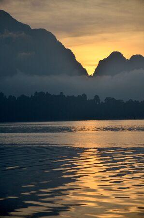 thani: Twilight at Khao Sok National Park in Surat Thani, Thailand