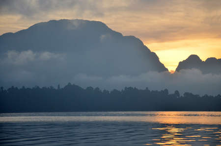 sok: Twilight at Khao Sok National Park in Surat Thani, Thailand