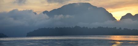 thani: Panorama of lake at Khao Sok National Park in Surat Thani, Thailand Stock Photo