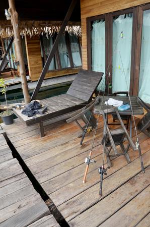 sok: Fishing rod at Raft resort at Khao Sok National Park in Surat Thani, Thailand