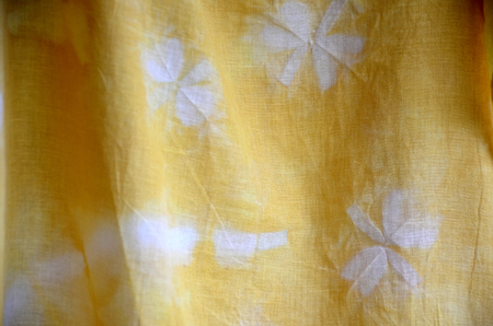 dyeing: Tie batik dyeing yellow natural color made from turmeric plant