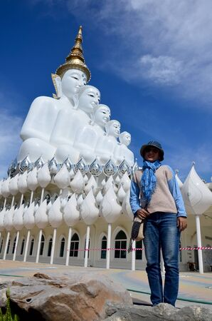 december 21: Thai woman 34 year old travel and portrait at Wat Pha Sorn Kaew on December 21, 2015 in Phetchabun, Thailand