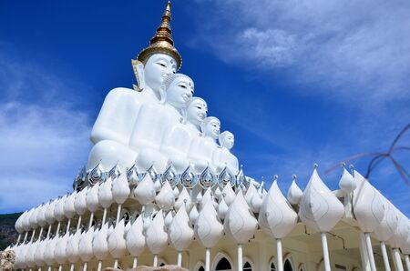 big five: Big five white buddha at Wat Pha Sorn Kaew also is a Buddhist monastery and temple in Khao Kor, Phetchabun, Thailand. They are public domain or treasure of Buddhism, no restrict in copy or use