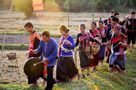panpipe: Phu Thai people singing and playing traditional thai musical instruments phu thai style for show at Ban None Hom on January 15, 2016 in Sakon Nakhon, Thailand Editorial