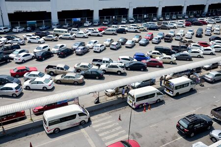 parking station: Parking spot for car of people passenger of BTS skytrain park free of charges at Mochit station on April 3, 2016 in Bangkok Thailand Editorial