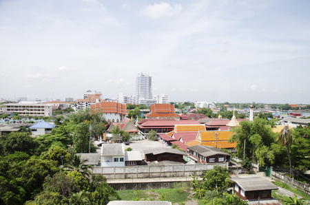View of Nonthaburi city from MRT Purple Line skytrain running go to Bangkok on June 20, 2016 in Nonthaburi Province, Thailand Stock Photo