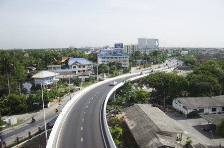 View of Nonthaburi city from MRT Purple Line skytrain running go to Bangkok on June 20, 2016 in Nonthaburi Province, Thailand Editorial