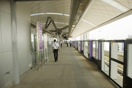 nonthaburi province: Thai people journey and wait MRT Purple Line skytrain go to Bangkok at Bang Yai station on June 20, 2016 in Nonthaburi Province, Thailand
