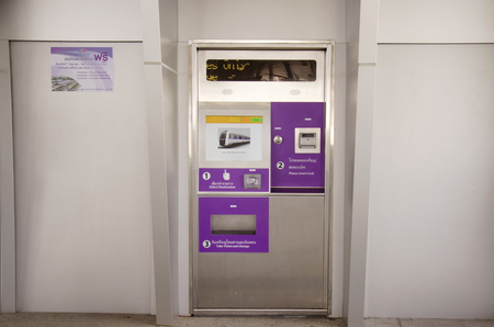 nonthaburi province: Ticket machines for MRT Purple Line skytrain at Bang Yai station on June 20, 2016 in Nonthaburi Province, Thailand