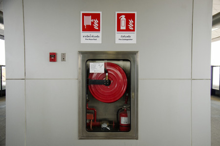 nonthaburi province: Emergency fire equipment station for firefighter and caution label in Nonthaburi Province, Thailand