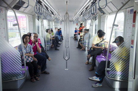 nonthaburi province: Thai people journey by Mass Rapid Transit Authority of Thailand (MRTA) or MRT Purple Line go to Bangkok  on June 20, 2016 in Nonthaburi Province, Thailand Editorial