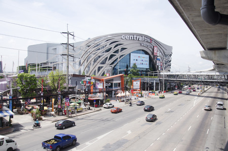 nonthaburi province: Traffic on the road at Mass Rapid Transit Authority of Thailand (MRTA) or MRT Purple Line at Bangyai station on June 20, 2016 in Nonthaburi Province, Thailand