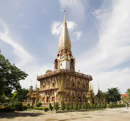 Beautiful pagoda or chedi of Wat Chalong or Wat Chaiyathararam Temple in Phuket, Thailand.