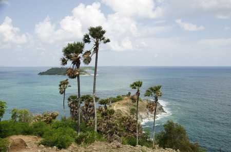 Wind and wave in andaman sea at Laem Phrom Thep Cape Viewpoint in Phuket, Thailand