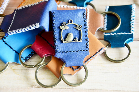 Handmade key ring and small bag made from leather