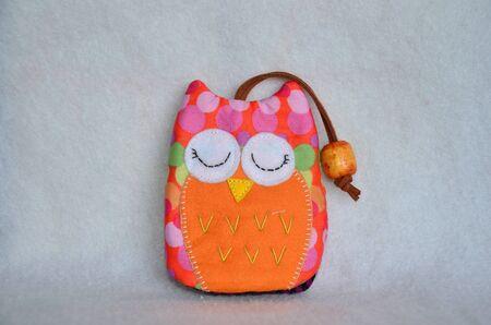 key ring: Handmade fabric colorful owl key ring cover