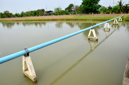 watercourse: Canal watercourse waterway of water supply with water pipe in countryside Nonthaburi, Thailand