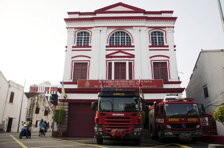 building on fire: Classic Beautiful Office Building Fire Station for traveller visit at George Town and street art area on April 27, 2016 in Penang, Malaysia.