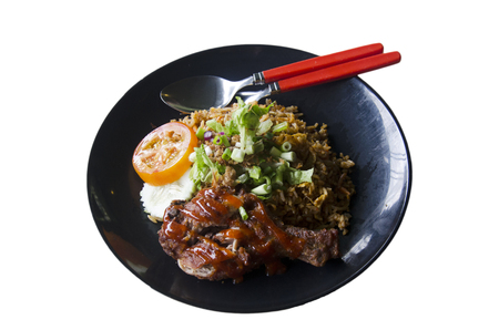 lemak: Nasi Lemak food or roast chicken over rice cuisine malaysian style