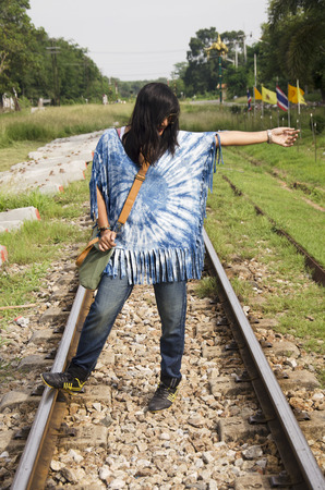 pattani thailand: Thai women wear clothes indigo natural color portrait at outdoor on railway tracks train near Wat Chang Hai Ratburanaram Luang Pu Thuat in Pattani southern provinces of Thailand Foto de archivo