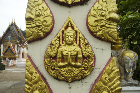 pattani thailand: Carving and sculpture angel at gate of Wat Chang Hai Ratburanaram Luang Pu Thuat in Pattani southern provinces of Thailand Foto de archivo