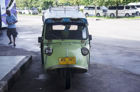 tuk: Motor tricycle or tuk tuk thai style at Bus terminal on July 12, 2016 in Trang, Thailand Editorial
