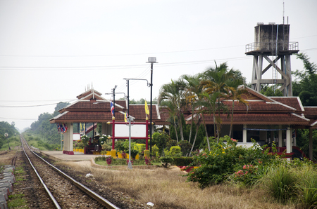 pattani thailand: Railway tracks and Train station Wat Chang Hai Ratburanaram Luang Pu Thuat on July 13, 2016 in Pattani southern provinces of Thailand Editorial