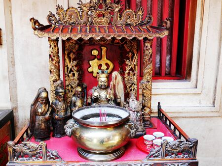Many chinese god and angel statue in Chinese joss house at Chinese shrine of Lady princess Soi Dok Mak a local goddess for people praying in Wat Phanan Choeng temple at Ayutthaya, Thailand