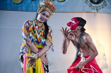manora: Manora dance is a traditional dance performance art of the South for show on stage at Wat Bangpai in night time on September 23, 2016 in Nonthaburi, Thailand