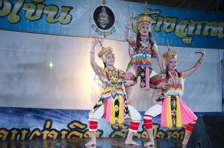 Manora dance is a traditional dance performance art of the South for show on stage at Wat Bangpai in night time on September 23, 2016 in Nonthaburi, Thailand