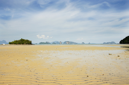 decreased: Landscape and seascape of beach way or tombolo sea go to small island in the andaman ocean while sea water level decreased at Koh Yao Noi in Phang Nga, Thailand Stock Photo