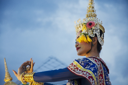 People dancing supreme thai mask or Khon dance drama thai style for show in traditional culture thai festival at Tha Nam Non on July 28, 2016 in Nonthaburi, Thailand