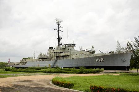 Remembrance Lhuangprasae Battleship discharge stop on land for people visit and travel at Pak Nam Prasae town on August 10, 2016 in Rayong, Thailand.