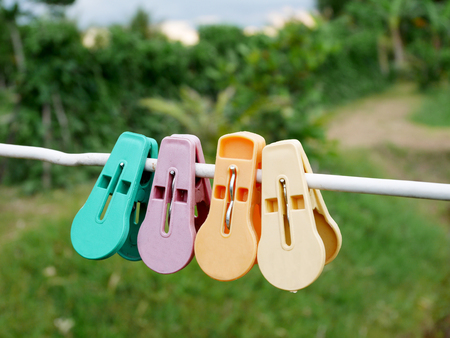 Colorful clothes pegs or clothespins hanging on white rope in garden at countryside of Thailand