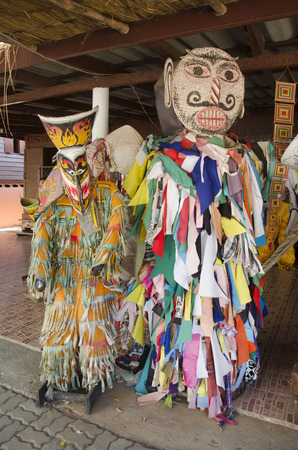 phon: Mask and costume Phi Ta Khon of Ghost Festival also known as Bun Pha Wet for people visit at Phi Ta Khon Museum in Wat Phon Chai on February 22, 2017 in Loei, Thailand