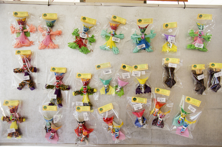 phon: Small local shop sale souvenir and native product Phi Ta Khon for people and travellers at Phi Ta Khon Museum in Wat Phon Chai on February 22, 2017 in Loei, Thailand.