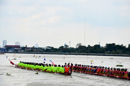 Thai people join match and competition in thailand traditional long boat racing festival at Chaopraya river on November 8, 2015 in Nonthaburi, Thailand