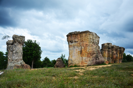 Mor Hin Khao, or Thai Stonehenge in the Phu Laenkha National Park with Stormy Clouds considered as a beautiful viewpoint located in Chaiyaphum , Thailand