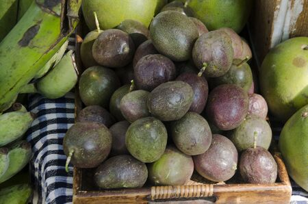 Passion fruit at for sale at organic street market fair in Nakhon Ratchasima, Thailand.