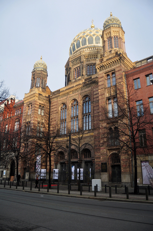 jewish community: Golden dome of Neue Synagoge of the Berlin Jewish community or Synagogue Oranienburger Strasse at Berlin city for people visit on November 9, 2016 in Berlin, Germany