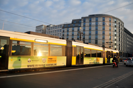 tramway: View cityscape and landscape with traffic with tramway networks at Berlin city on November 9, 2016 in Berlin, Germany
