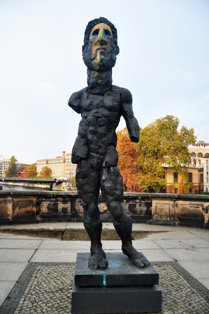 bode: Bode Museum is one of the group of museums on the Museum Island for German and foreigner travelers visit with sculpture of Odysseus on November 9, 2016 in Berlin, Germany Editorial