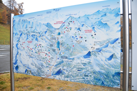 Map of Skiparadise Nauders in countryside at Trentino-Alto valley in South Tyr or Alto Adige on November 5, 2016 in Bolzano or bozen, Italy
